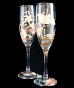 Sea Shell Shimmer Hand Painted Toasting Flutes