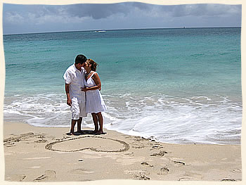Couple after getting married in St. Thomas.