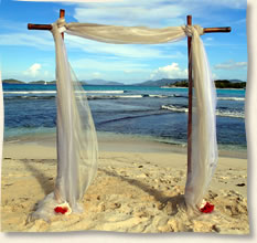 champagne fabric bamboo arch st. thomas beach wedding