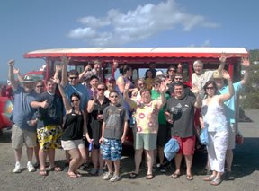 Happy wedding group transported on our island taxi!