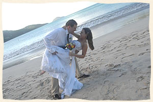 Happy Couple Married at Magens Beach