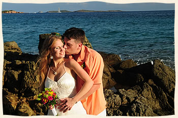 Happy Couple Wedding at Bluebeards Beach