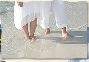 island wedding toes in the sand
