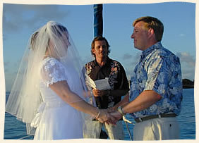 ceremony on board the sailboat