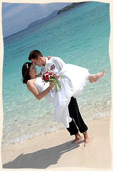 St Thomas Wedding Couple on Lindquist Beach