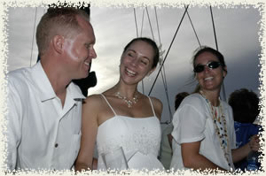 happy faces under sail