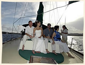 wedding party under sail